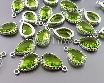 2 dark apple green 12mm glass charms, glass beads for diy jewelry making, supplies 5049R-DAG-12 (bright silver, dark green, 12mm, 2 pieces)