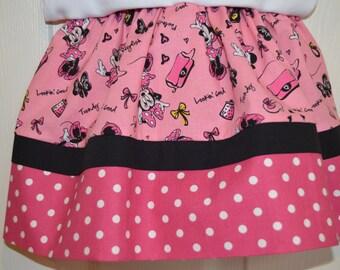 Minnie Mouse Pink and Black Polka Dot Skirt