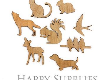 4pcs (BR013 / LC008) DIY Wooden Laser Cut Animal Pendants / Charms