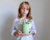 green pencil holder / small green vase / green office decor / light green cup / handcrafted pencil cup