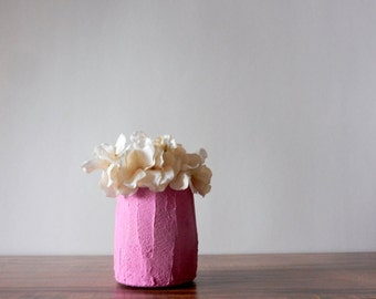 small pink vase / short vase / fuschia Home Decor / made to order/ fuschia pink  home decor