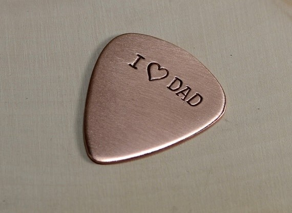 Copper guitar pick for dads and fathers day