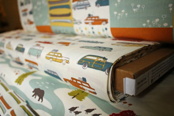 Organic Camper Rally by the Yard Yardage Vintage Car Wagon Auto Glamping Feather River by Birch Fabrics - 1 Yard - Happy Campers