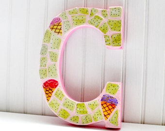 Mosaic - Personalized - Letter C - Nursery Decoration - Girl - Broken China - Recycled Plates -