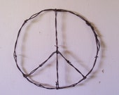 Barbed Wire Art 30 X 30 Peace Sign
