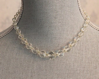 Vintage Clear Crystal Beaded Sterling Silver Clasp Necklace
