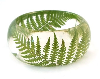 Size Small Pressed  Fern Bangle - Resin Jewelry.  Handmade Botanical Resin Jewelry. Gift for Her, Gift for Mom, Gift for the Nature Lover.