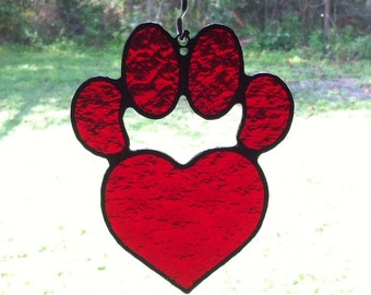 Red Textured Stained Glass Dog Paw Pad with Heart Sun Catcher Great Gift for Dog Lovers and Valentines!