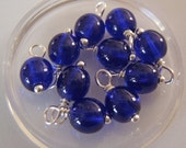 10 - Hand wrapped in Silver Finished Brass  6mm Transparent Cobalt Blue Dangles-Charms