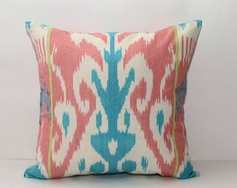 15x15 pink blue ikat cushion cover, pink ikat pillow cover