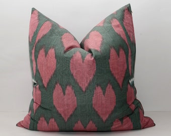 20x20 dark olive green and pink ikat pillow cover, cushion cover