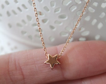 Rose Gold Star Necklace...Small Star Necklace...Tiny Rose Gold Star Necklace bridesmaid wedding birthday gift