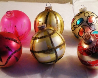West German Ornaments - Hand Decorated - Set of Six