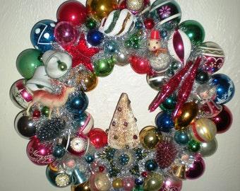 Vintage Christmas Ornament Wreath - Christmas Kitsch