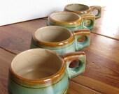 Vintage drip glaze tea cups/ set of 4/ saki cups/ mid century modern