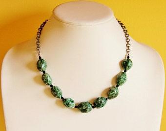 Green statement necklace, spotted jasper jewelry, gemstone jewelry, big bold necklace, chunky necklace, natural stone necklace, OOAK jewelry