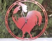 Rooster, Rooster clock, Cherry Red Rooster, Barn, Barn clock, Farm, Kitchen, Kitchen decor, Metal art, Wall art, Housewares, kitchen clock,