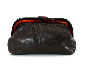 Vintage Distressed Leather Clutch // Tortoise Closure