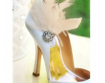 Shoe Clips Champagne Ivory White Black Feathers Tulle Rhinestone. Bride Bridesmaid, Engagement Bridal Shower Gift, Winter Boudoir Burlesque