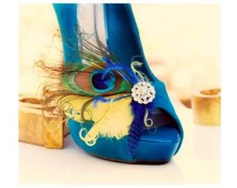 Bridal Shoe Clips Peacock Lemon Zest & Royal Blue. Couture Engagement Party, Bride Bridesmaid, Bright Yellow Ostrich, Statement Teal Silver