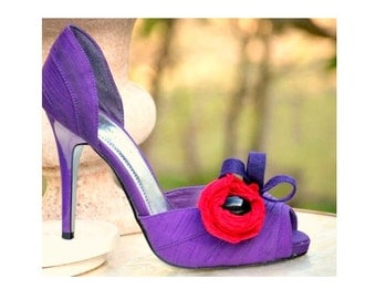 Shoe Clips Red & Purple Rosette Bud - Loops. Lady Society Queen Accessory, Fun Spring Club Chapter Convention, Feminine Tween Grandma Ladies