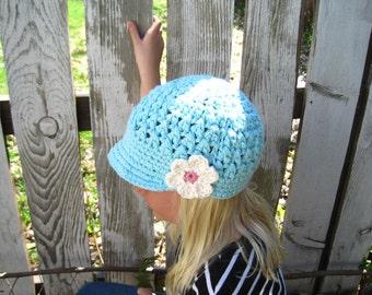 Crochet Robin's Egg Blue Newsboy Hat,Baby Hat,Girls Hat,Beanie Visor with Flower