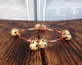 Wood beads with copper wire bangle bracelet