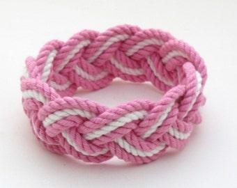 Sailor Knot Cotton Pink and White Surfer Bracelet