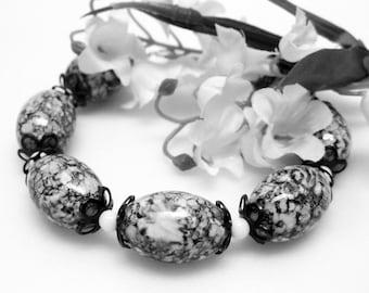 Sale Black and White Bracelet - Chunky Bracelet -  Glass Beaded Bracelet - Womens Large Bracelet - Plus Size - Handmade