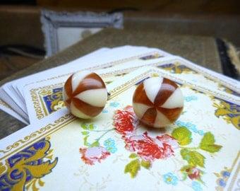 Caramel Coffee Swirls . Reddish Brown & Cream Candy Swirls and titanium post ear studs.