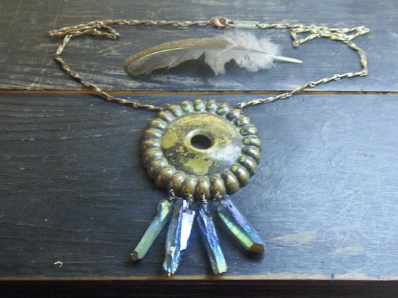 Temple Of Isa Necklace.  Bohemian art nouveau Hardware Circle Rough Mystic Aurora Green-Blue Crystal Quartz rustic talisman Handmade ooak