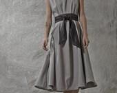 LAST SALE 50% off!!!! Forest dress, Grey wool dress, classic shape, black wool belt