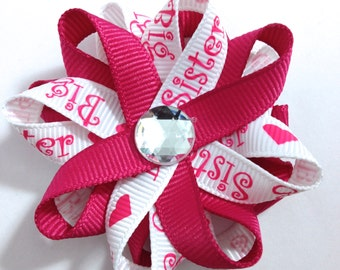 Big Sister Pink & White Hair Bows, Handmade Hair Bows, Sister Hair Bows, Loopy Hair Bows, No Slip Hair Bows, Hair Bow Clips, Gifts for Her