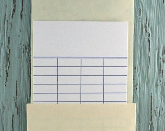 """High Back Library Card Pockets, Library Book Pockets, 6.25"""" x 3.5"""", Plain or Peel & Stick, Crafts, Scrapbooking, Library Supplies Wedding"""