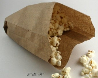 """25 Food Safe Grease Resistant Paper Bags 6""""x2""""x9"""", Brown/White Cake Bags, Popcorn Bags, Cookie Bags, Candy Bags, Weddings, Party Supplies"""
