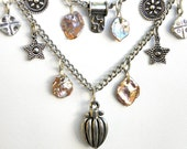Sterling Charms and Pearls Dangle from This Handcrafted Necklace, Chain, Leather Cord, Boho