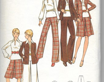 "BUTTERICK 6842 UNCUT Size 12 Bust 34"", Blazer Jacket, Skirt, Pants, Blouse Pattern Retro 1970's"