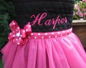Personalized Dark Pink Ballet Tutu Bag