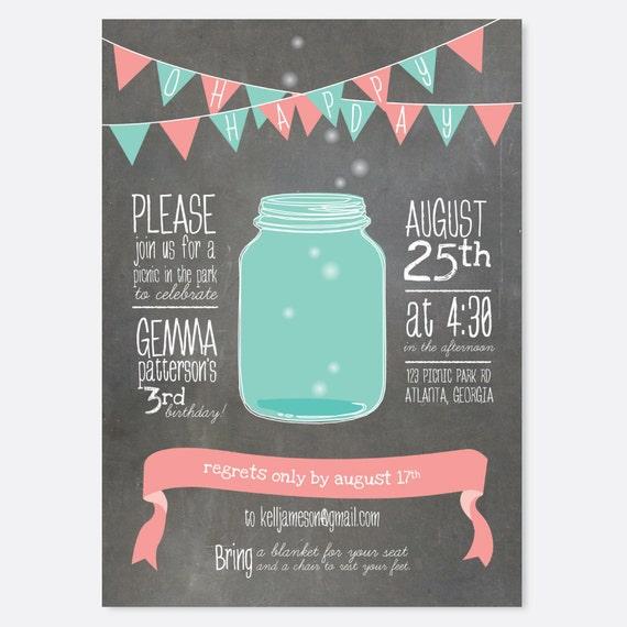 picnic firefly mason jar birthday invitation summer party