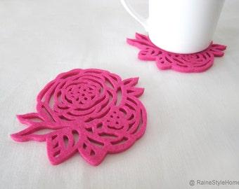 Summer Rose Fuchsia Rose Felt Coasters Set. Set Of Six. Pretty Floral Coasters