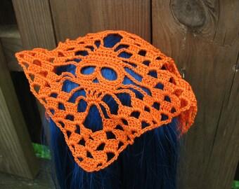 Orange Skull head scarf Shawl for Dolls fit Blythe and Pullip Medium Size