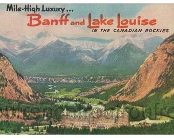 antique travel banff lake louise canada illustration poster postcard digital download