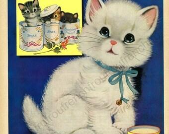 vintage art deco kitten white kitty illustration DIGITAL DOWNLOAD