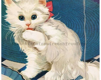 vintage art deco white kitten illustration DIGITAL DOWNLOAD