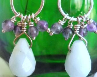 Sterling Silver Amethyst and Pale Blue Gemstone Teardrop Earrings, Time Raveler