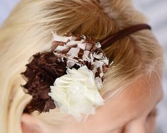 Brown hard headband, brown flower headband, ivory headband, toddler headband, girl headband, girl hair accessory, womens headband, gift