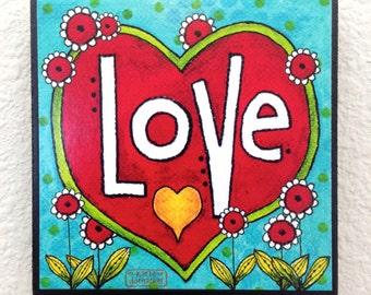 LOVE - Word Art Block Wall Decor or Stackable - 4x4 Christian Inspirational
