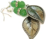 Green Rhinestone Leaf Necklace & Earrings, Gifts for Women Under 30, Valentines Day, Birthday Christmas Gifts