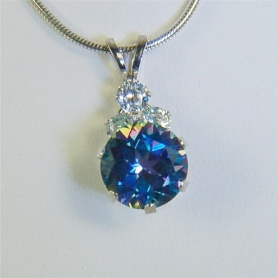 Mystic Blue Topaz Necklace in 10Kt White Gold 8mm Round 2.50ct With Cz's Sodalite Blue