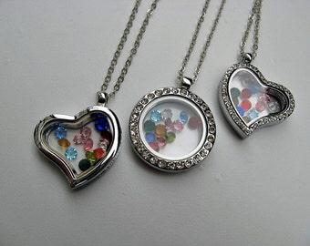 Sale - Keepsake Floating Locket Necklace - 12 Colors Jewels - Floating Locket - Birthstone - Silver Chain - Choose 1 or 3 styles